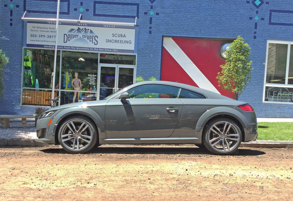 Profile view of the 2016 Audi TT outside of Denver Divers on Milwaukee Street in Denver's Cherry Creek neighborhood