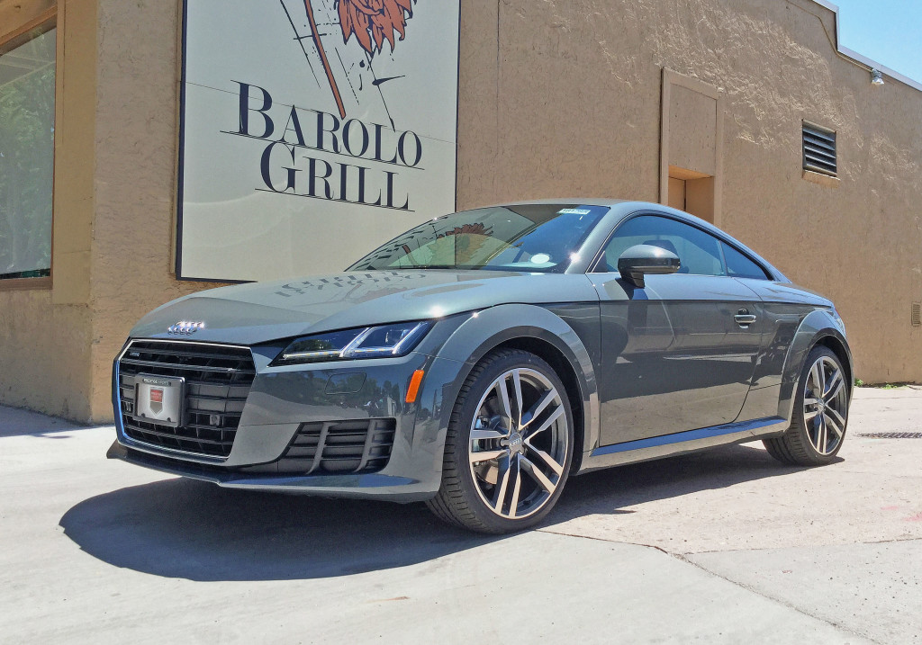 2016 Audi TT parked next to Barolo Grill on 6th Avenue in Denver's Cherry Creek neighborhood