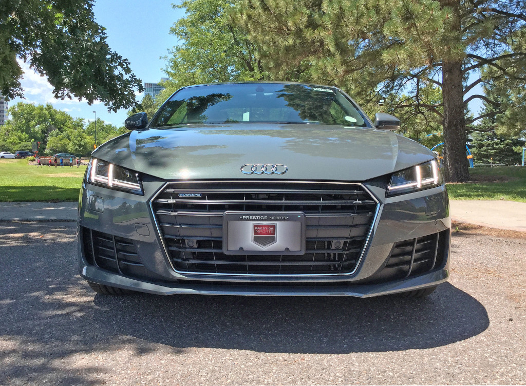 Front view of the 2016 Audi TT in Pulaski Park in Denver's Cherry Creek neighborhood