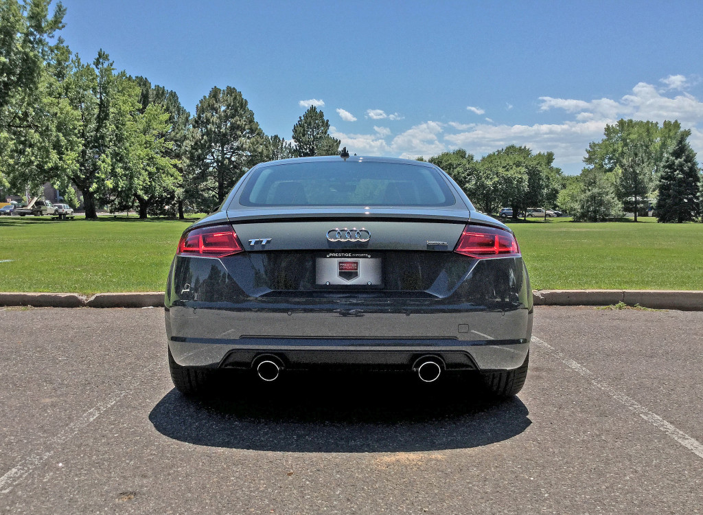 Rear view of the 2016 Audi TT in Pulaski Park in Denver's Cherry Creek neighborhood