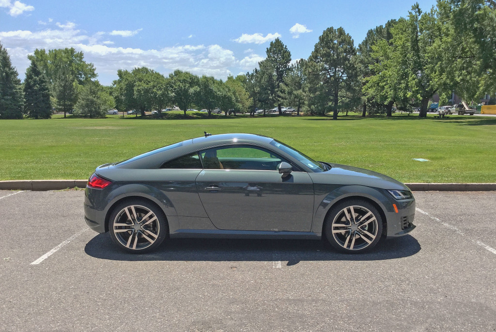 Profile view of the 2016 Audi TT in Pulaski Park in the Cherry Creek neighborhood of Devner, CO