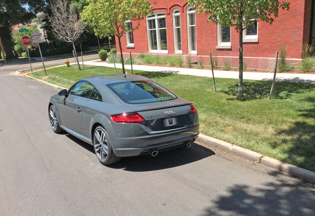 Rear view of the 2016 Audi TT next to the Greenleaf Masonic Temple on 4th Avenue and St. Paul in the Cherry Creek neighborhood, Denver, CO