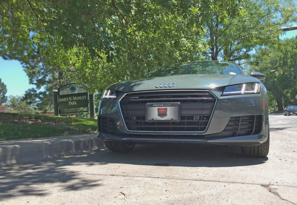 Front view of the 2016 Audi TT parked near James N. Manley Park in Denver's Cherry Creek neighborhood