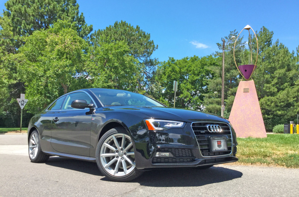 The 2016 Audi A5 beside a Barrable sculpture in Denver's Congress Park