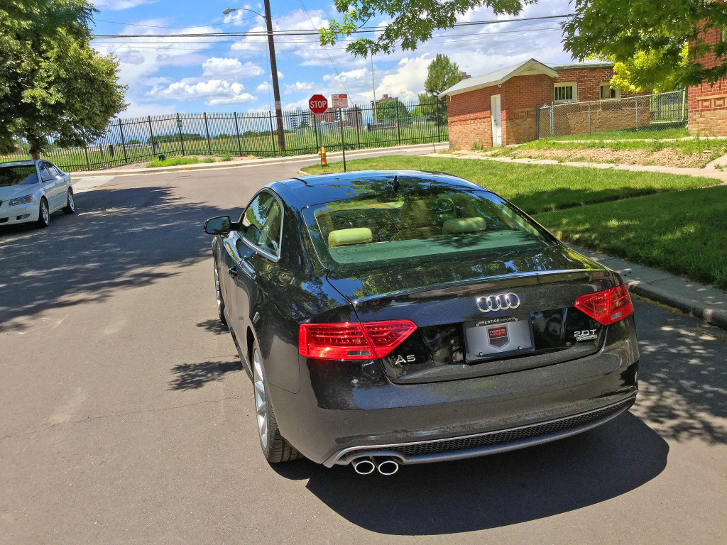 Rear view of the 2016 Audi A5 near the intersection of Detroit Street and 10th Avenue in Denver's Congress Park neighborhood