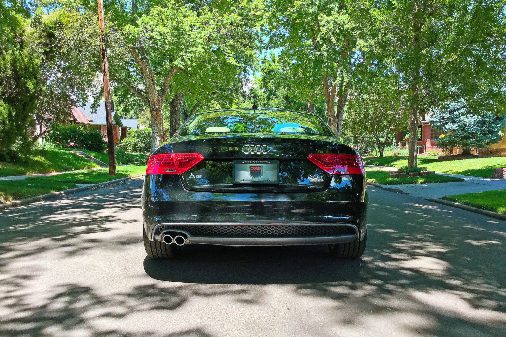 The rear view of the 2016 Audi A5 near the intersection of Milwaukee Street and 9th Avenue in Denver's Congress Park neighborhood