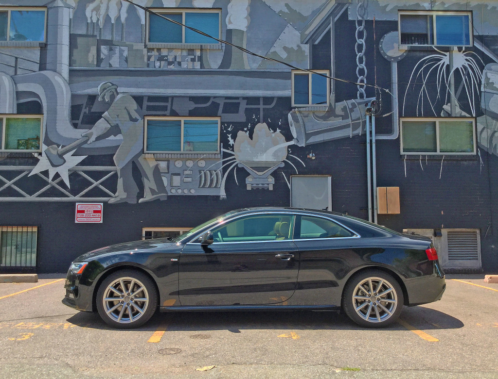 A side view of the 2016 Audi A5 parked near Elizabeth Street and 13th Avenue in Denver's Congress Park Neighborhood
