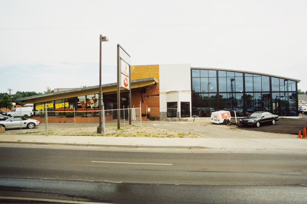 Historical Photo (1998) of construction on the Porsche side of Prestige Imports, a Denver Porsche and Audi Dealer.
