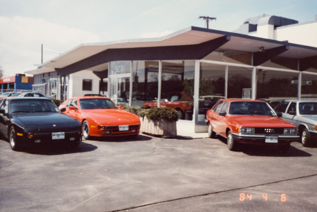 Historical Photo (1984-04-06) of the east side of Prestige Imports, a Denver Porsche and Audi Dealer