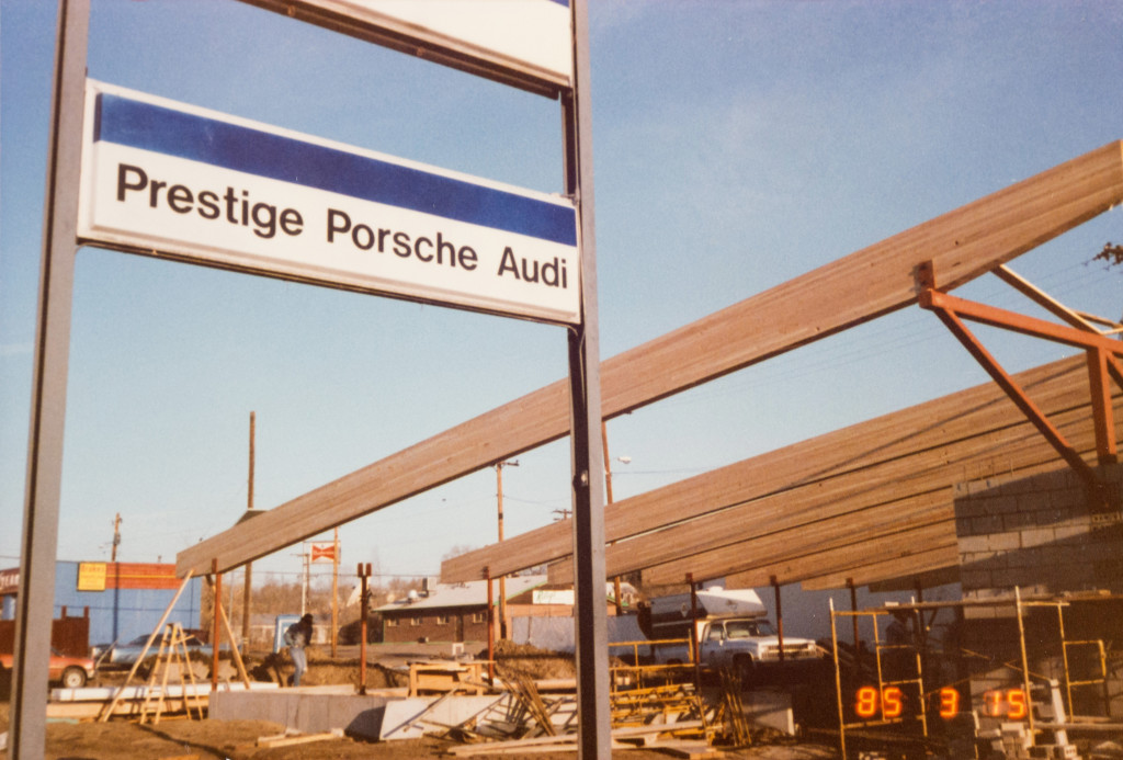 Historical Photo (1985-03-15) of construction at Prestige Imports, a Denver Porsche and Audi Dealer.