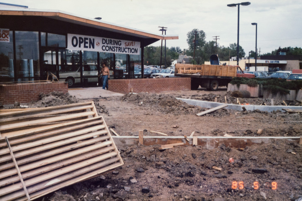 Historical Photo (1985-05-09) of construction at Prestige Imports, a Denver Porsche and Audi Dealer.