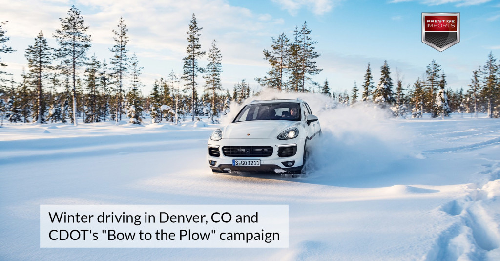 Porsche Cayenne driving through deep snow - Winter driving in Denver, CO and CDOTs Bow to the Plow campaign.