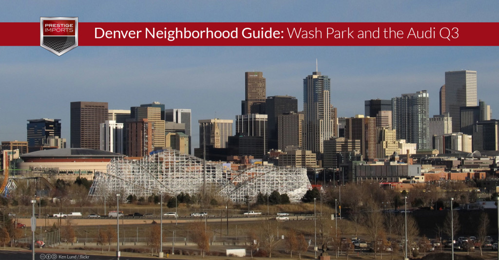 "Photo of the downtown Denver skyline. Used to illustrate the article ""Denver's Washington Park Neighborhood and the Audi Q3""."