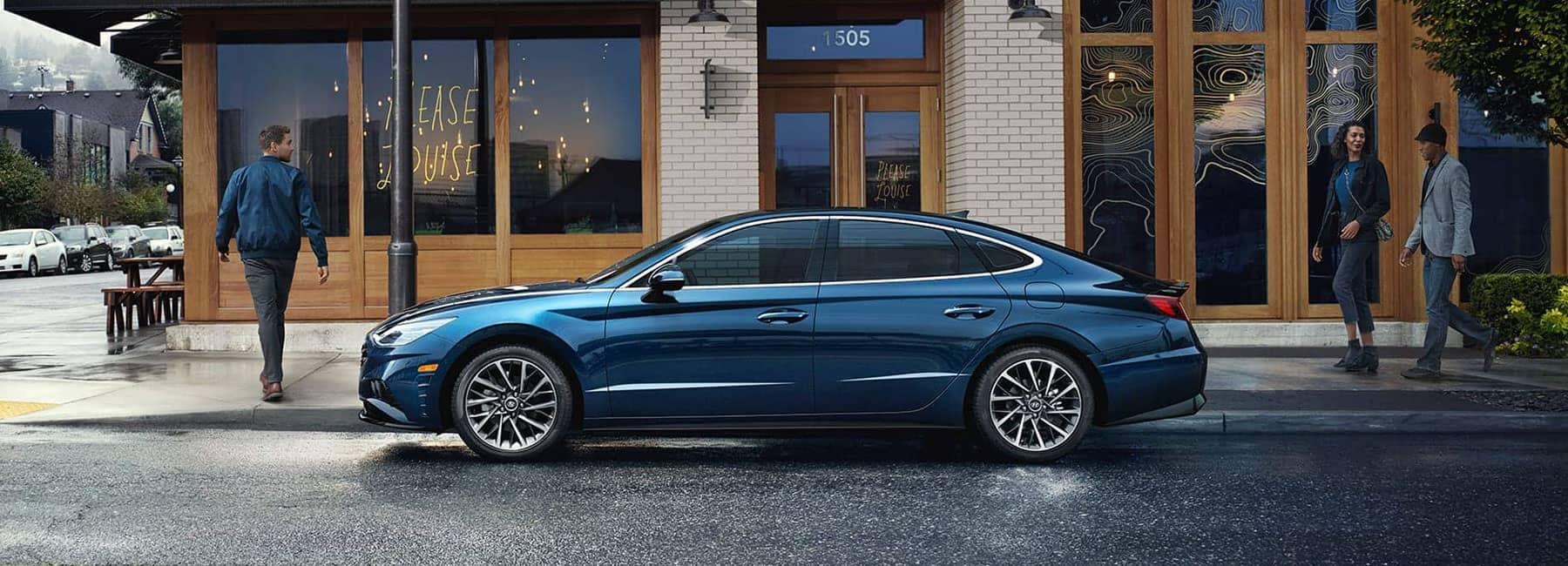 2020 Blue Hyundai Sonata sideview