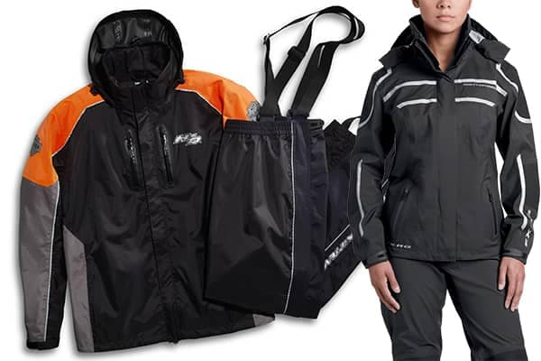 Harley-Davidson black and Orange waterproof riding apparel.
