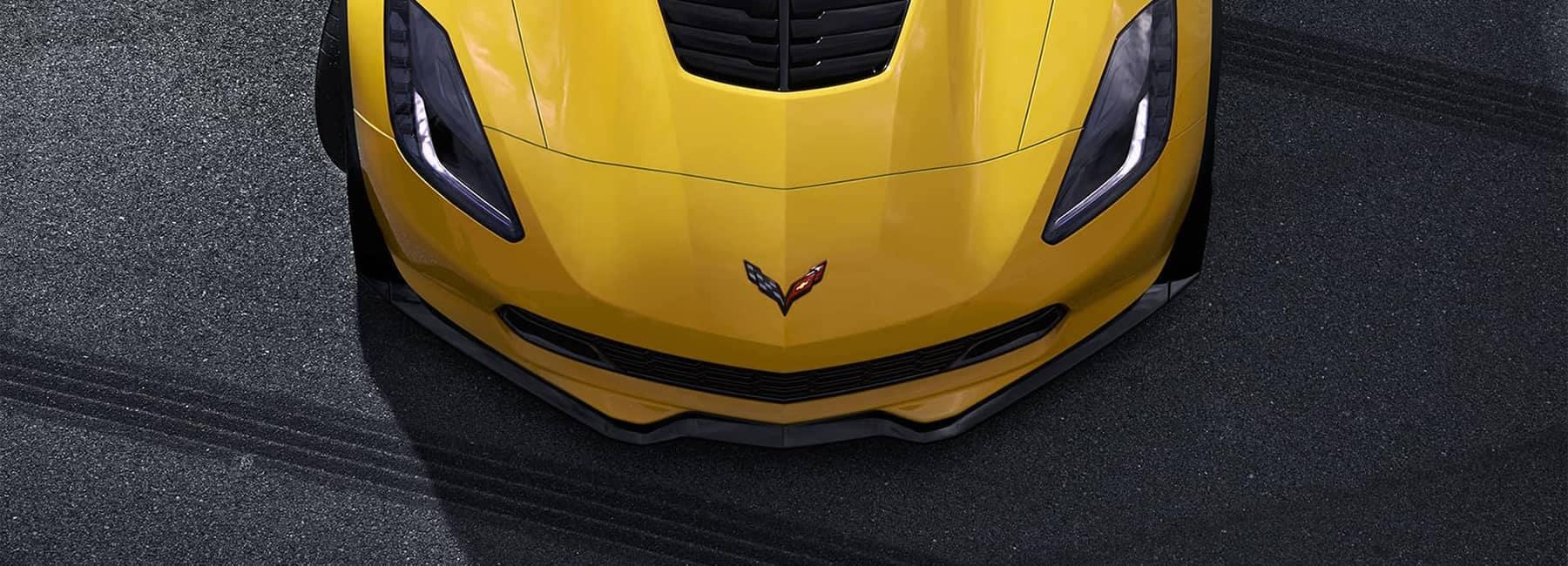 2019 Corvette Z06 Yellow Nose Top View