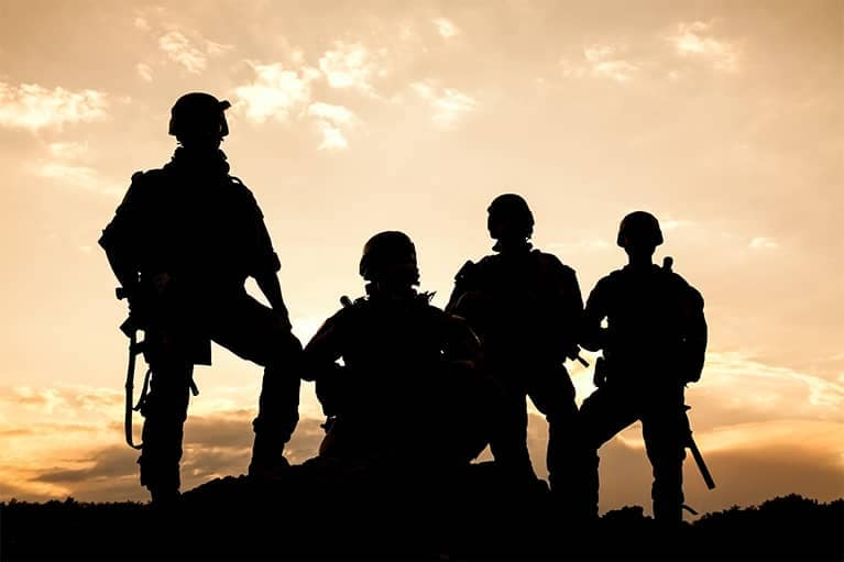 Silhouette of People in the Military