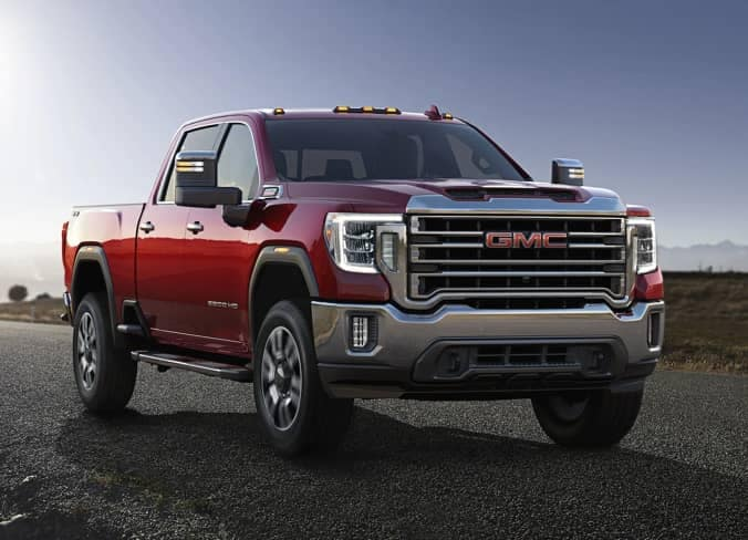 2020 sierra hd red truck front outside_mobile