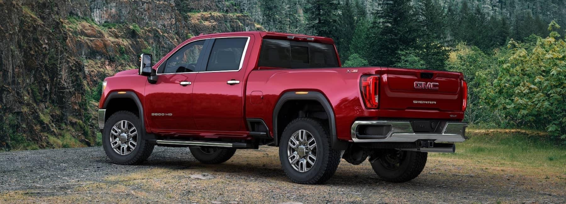 2020 sierra hd red truck outside