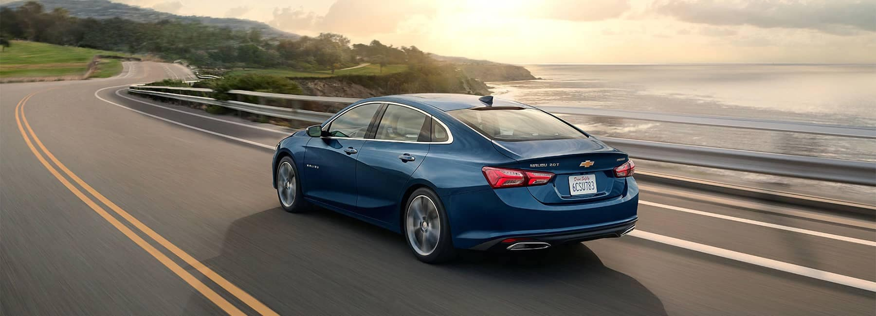 2020 Blue Chevy Malibu Midsize Car Rear Side View