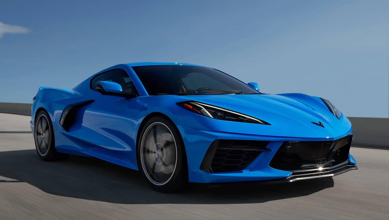 2020 Blue Corvette Angled Front View Driving Crop2020 Blue Corvette Angled Front View Driving Crop