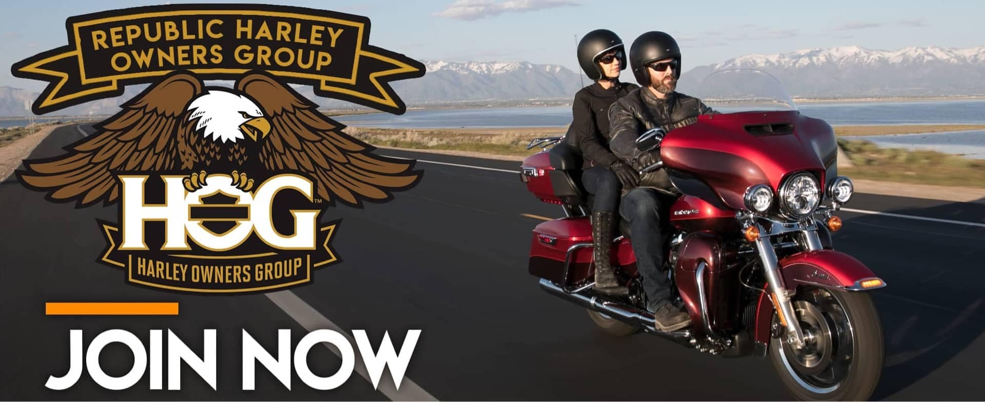 Republic Harley Owners Group Join Now Two people riding on a red Harley Davidson