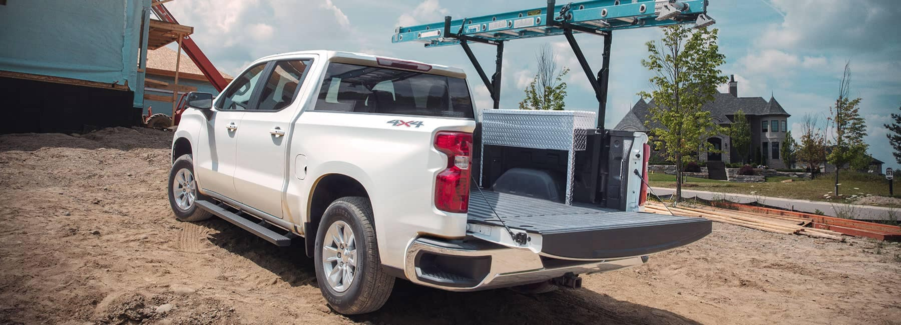 2019 Chevrolet 45 white truck open trunk