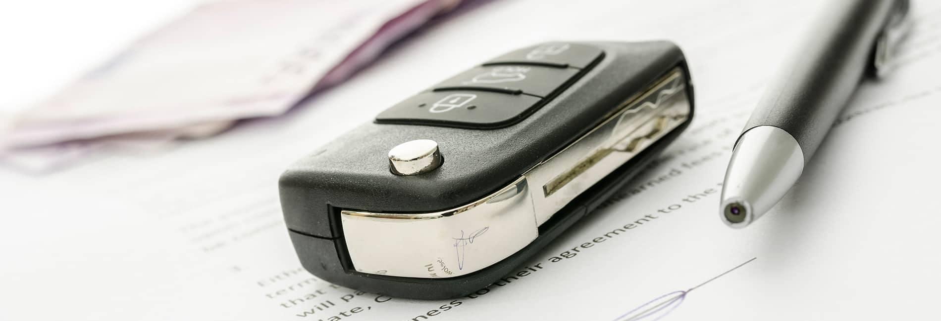 Car keys on a finance document