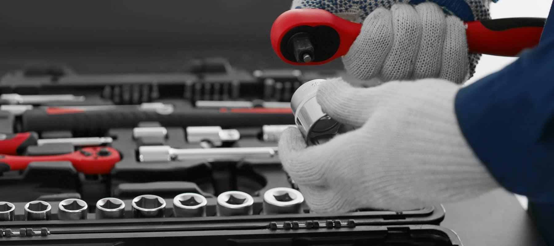 service technician preparing a tool