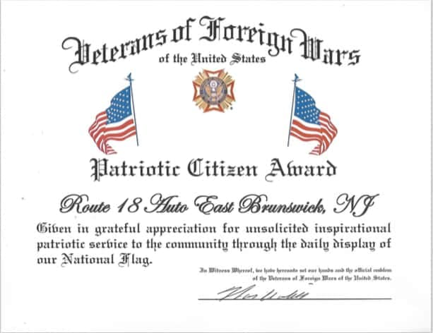 Route 18 jeep gets vfw loyalty day event relay for life certificates vfw patriotic citizen award nj yelopaper Choice Image