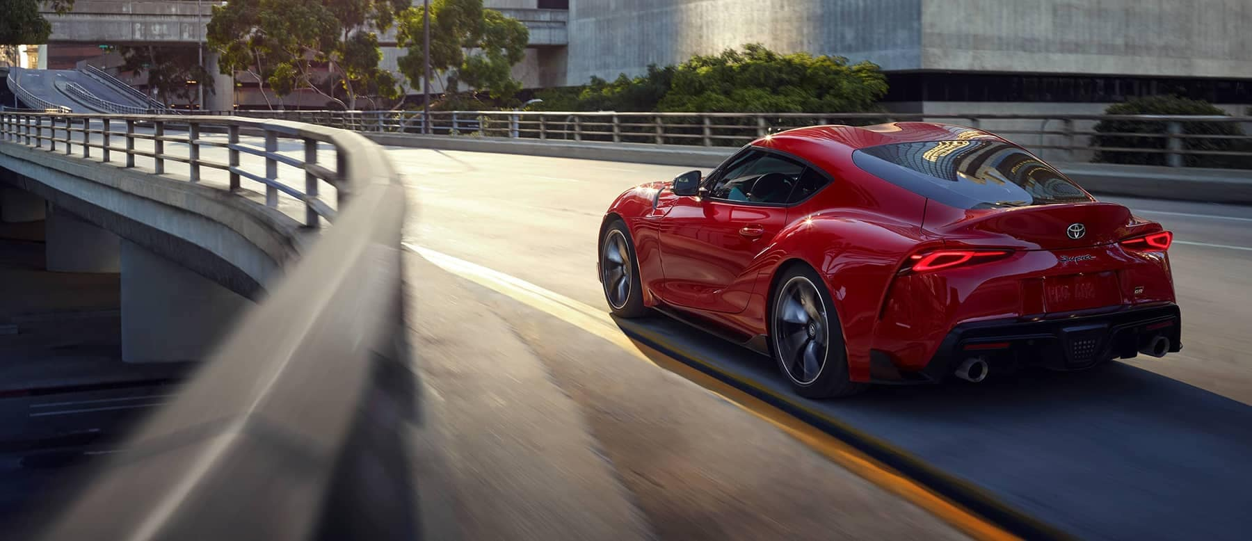 2020 Toyota GR Supra speeding around corner