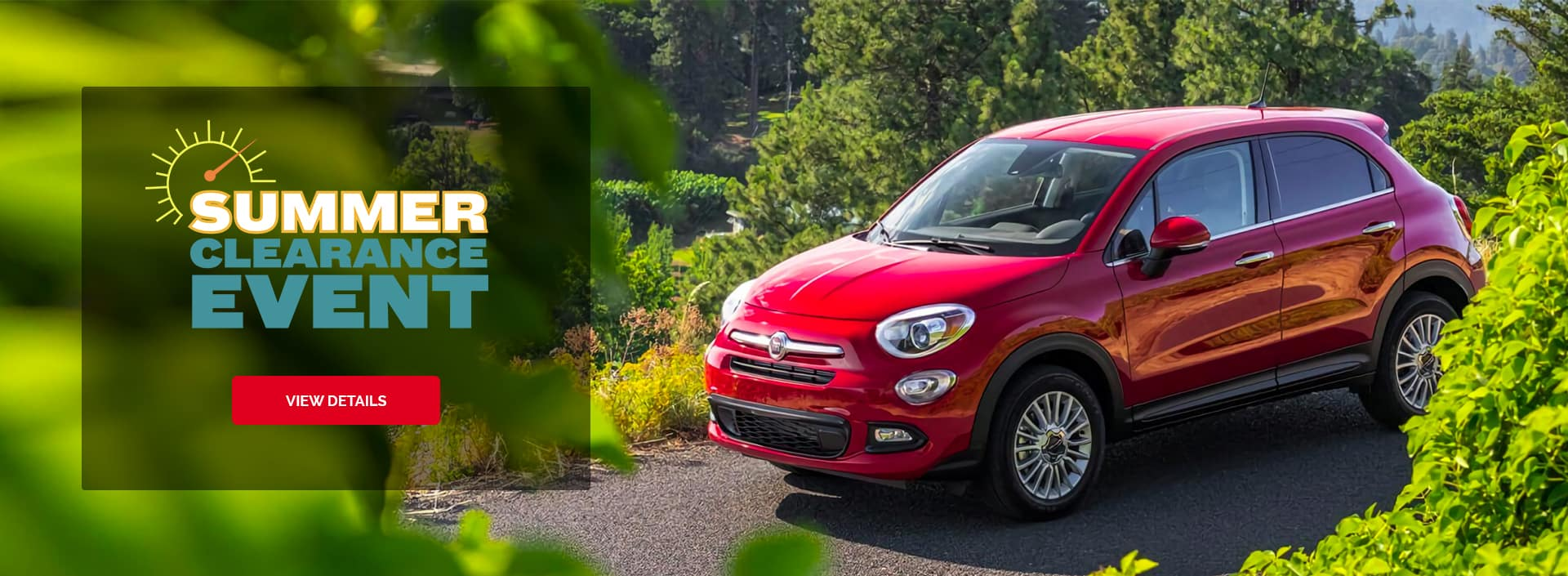 Summer Sales Event Banner with a Red FIAT Surrounded by greenery