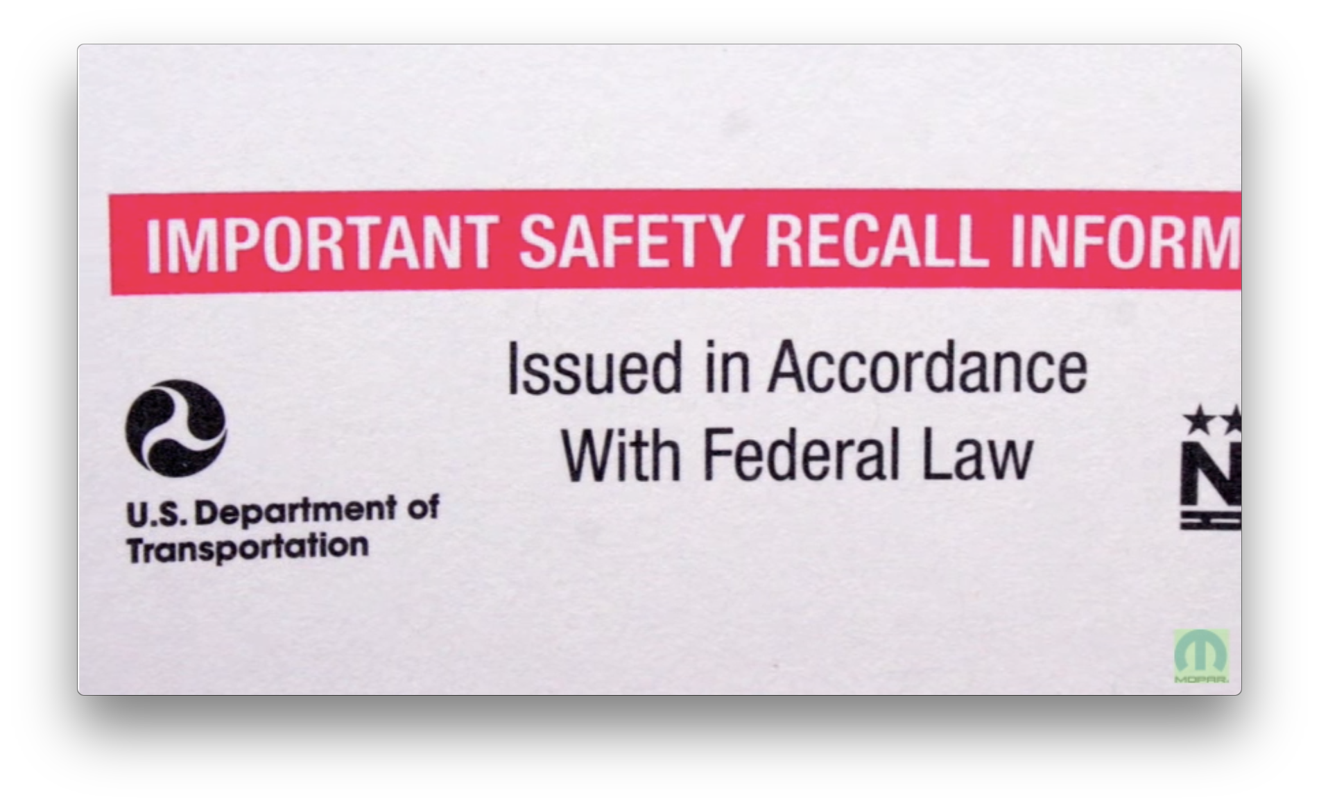 Chrysler Recall Check