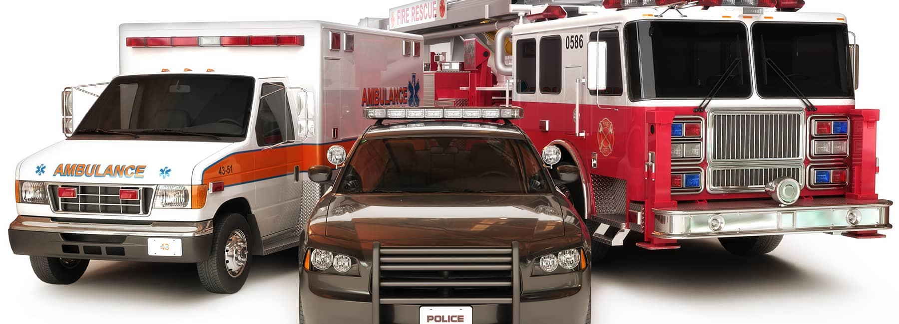 ambulance, police car, and fire truck