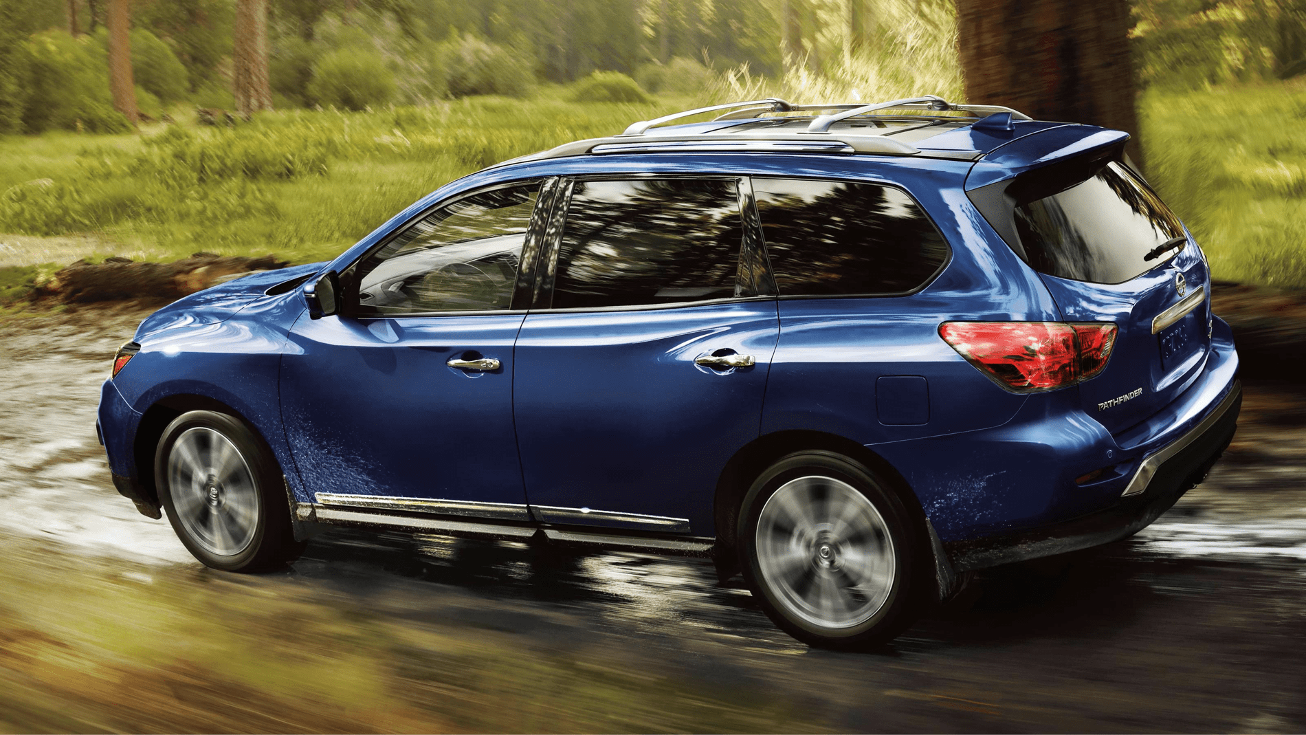 2020 Pathfinder drives in woods
