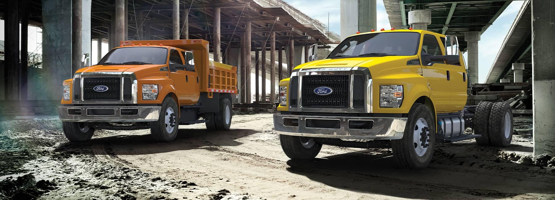 2021 Ford Commercial trucks at a construction site