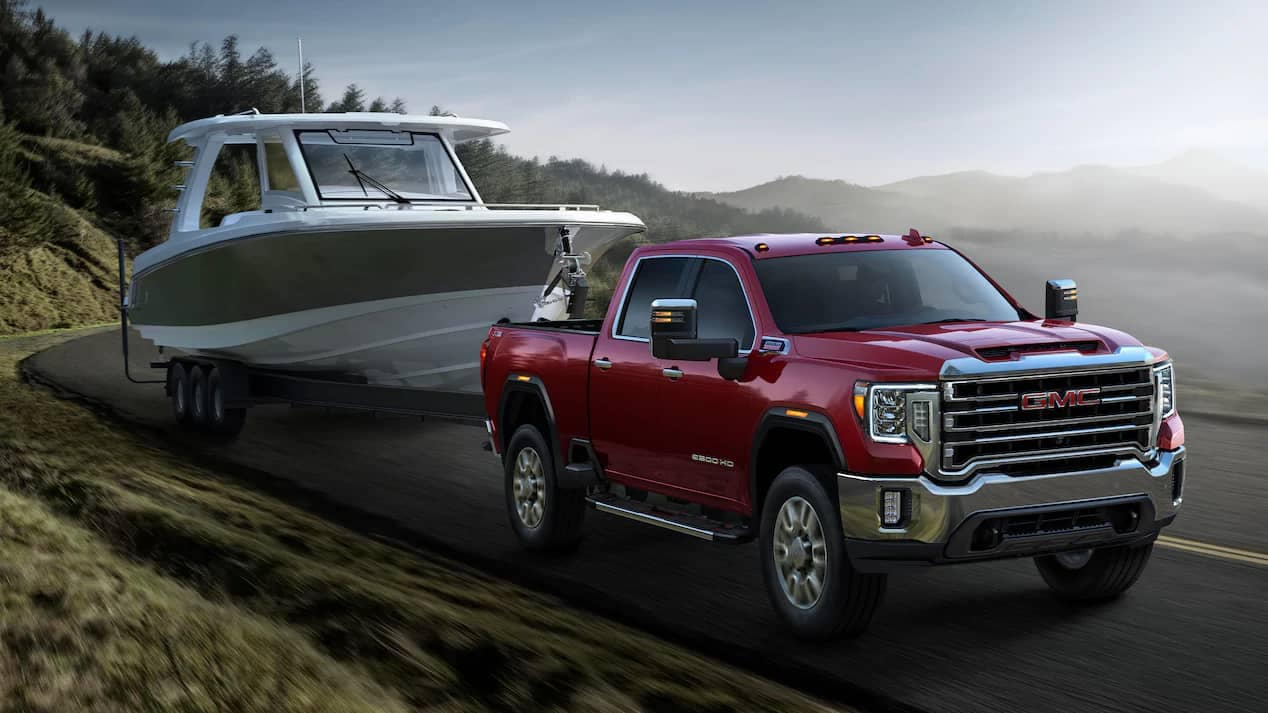 2020 GMC Sierra HD towing a large boat