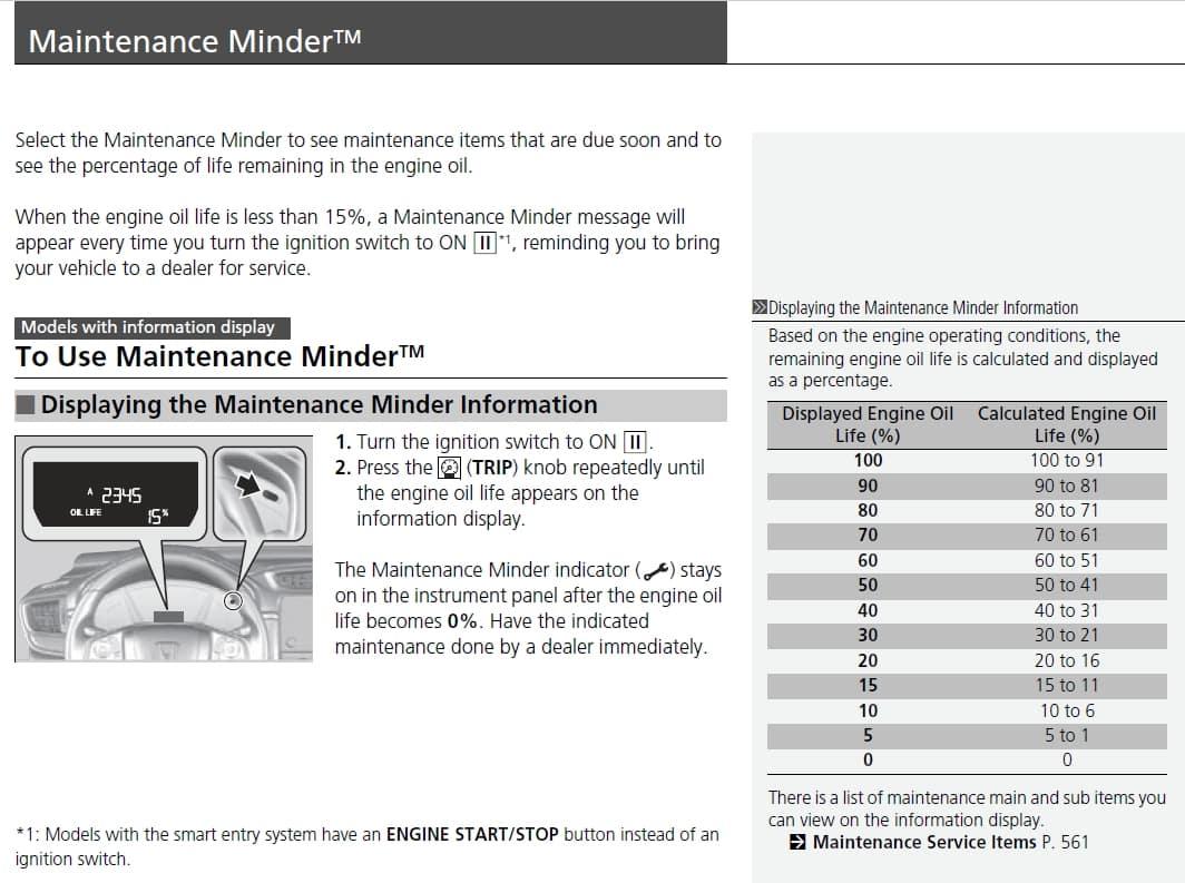 Maintenance Minder Example 1
