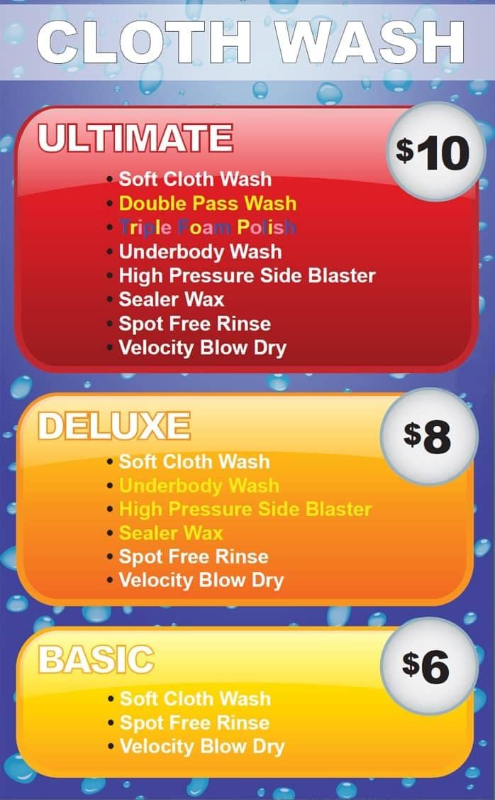 auto wash pricing