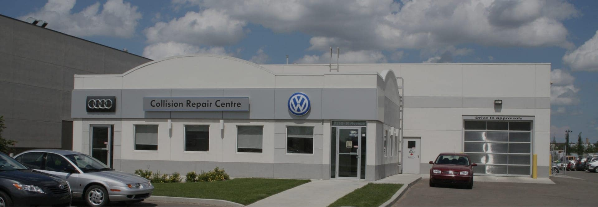 Front view of collision center building