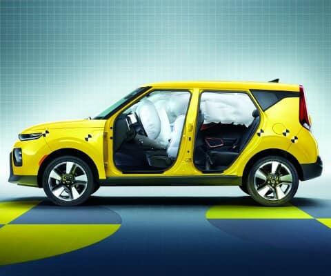 Yellow Kia Soul technology