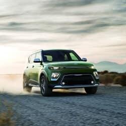 Green 2020 Kia Soul on road