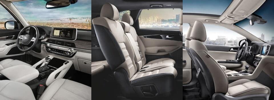 2020 Telluride vs 2019 Sorento vs 2019 Sportage interior