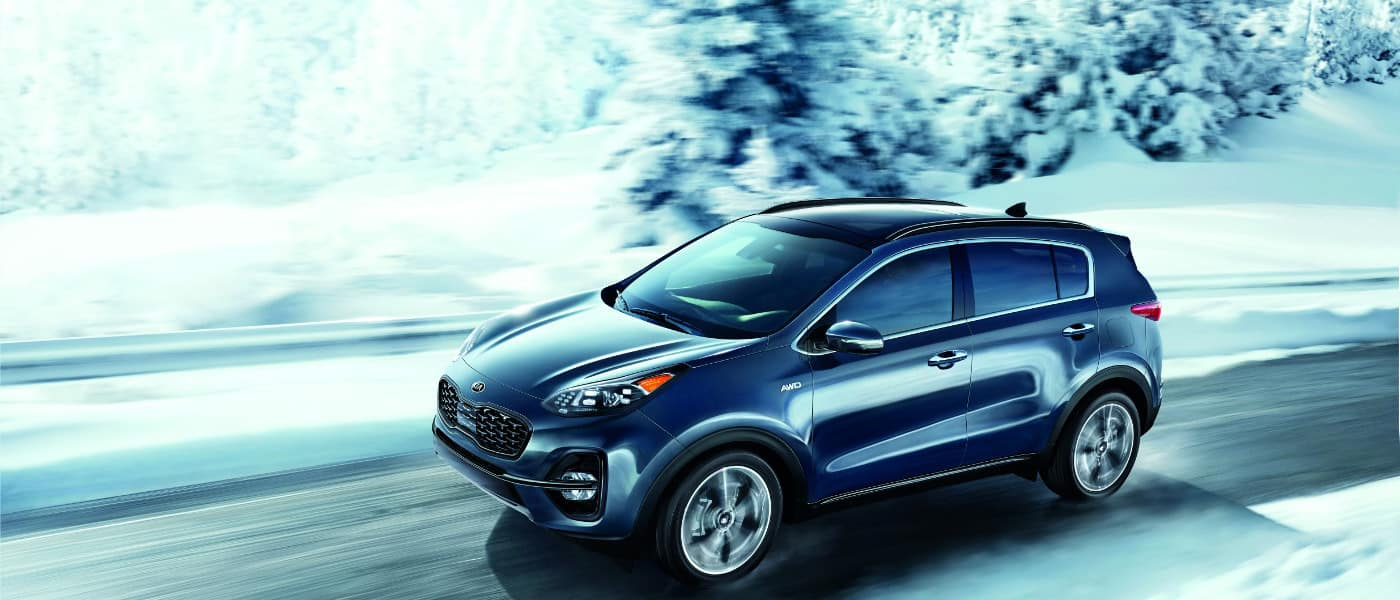 Grey 2020 Kia Sportage in snow