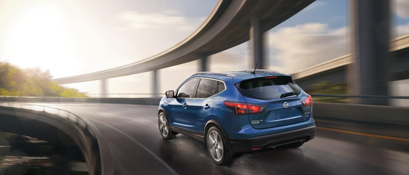 Blue 2019 Nissan Rogue Sport on highway