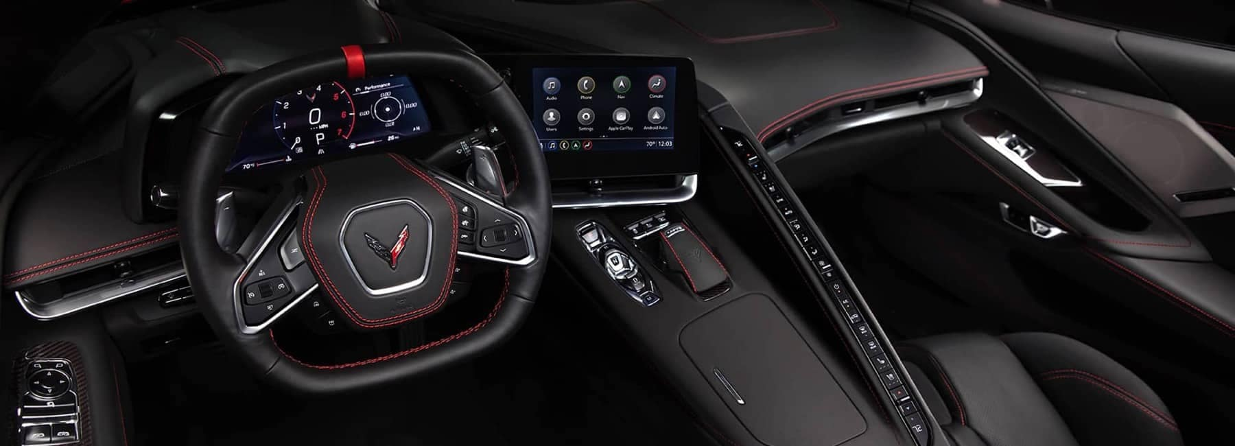 2020 Chevrolet Corvette Mid-Engine Sports Car front dashboard interior