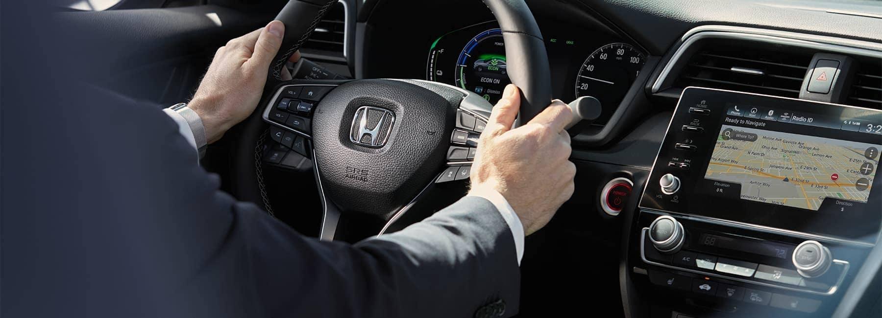 2021 Honda Insight interior hands on steering wheel