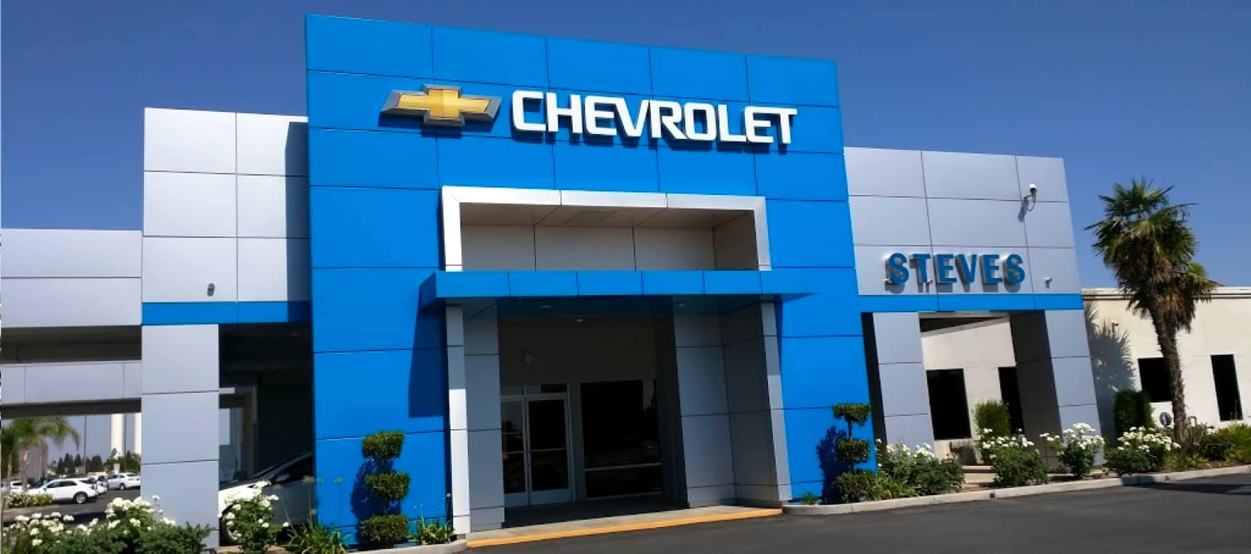 An exterior shot of a Chevrolet dealership.