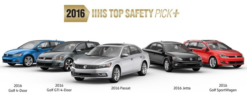 Volkswagen Awarded 2016 IIHS Top Safety Pick+