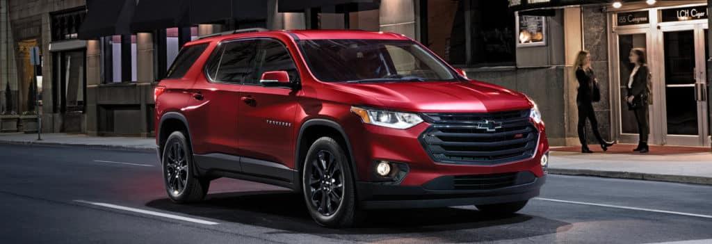 red Chevrolet traverse